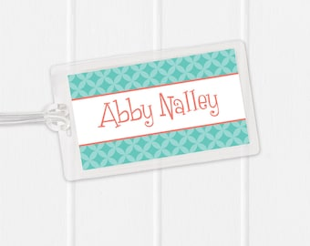 Girls Bag Tag - Modern Circles - Sports Bag Tag - Diaper Bag Tag - Kids Bag Tag Luggage Tag - pick your own colors