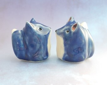 Blue Fox Figurines Ceramic Handmade Sculpture