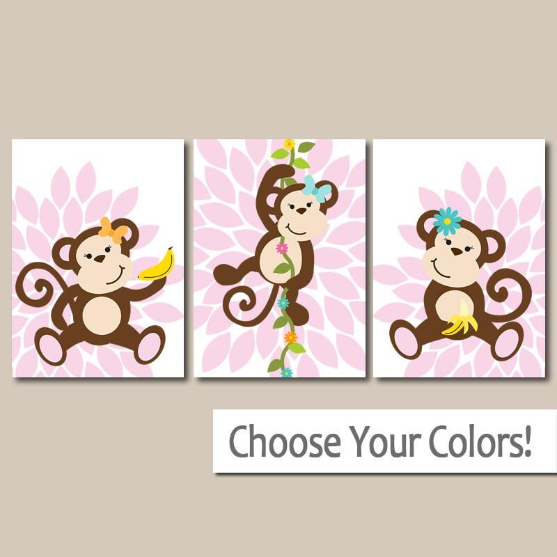 Girl Monkey Nursery Wall Decor : Girl monkey wall art nursery theme baby