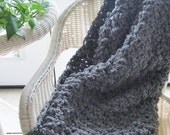 FlASH SALE Chunky Crochet Afghan Blanket Throw Sofa Size THE Alaskan Classic Style Soft & Warm Winter Throw Warmer Handmade - Medium Gray Gr