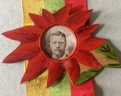 Antique Vintage Teddy Roosevelt Campaign Photograph Silk Ribbon Carved Wood Souvenir