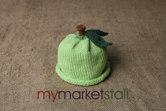 Green Apple Hat - Cotton/Wool Blend - 0-3 Months - 3-6 Months