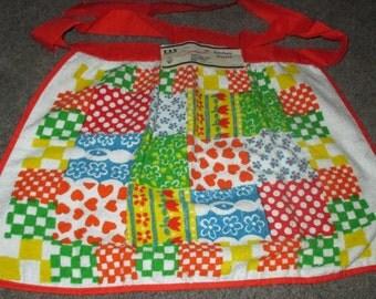 Only 5 Bucks.....Vintage MOD 60s Orange Patchwork Motif Cotton Kitchen Terries Terry Cloth Apron