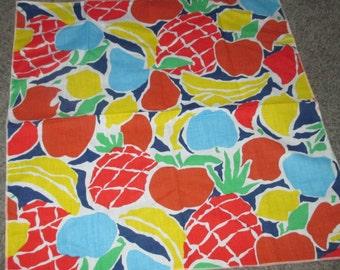 Last Call.....Vintage MOD Colorful Red Blue Tropical Fruit Salad Napkins Napkin Lot of Nine