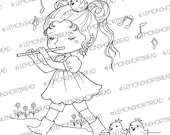 Digital Stamp Flute Girl, Cute Birds Animals Digi, Fantasy, Fairy, Children Coloring Page, Scrapbooking Supplies, Instant download
