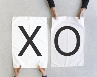 SALE Tea towel set - XO towels - Modern Love - wedding / couples gift - modern typography towel set - made in USA - Closeout