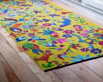 Otomi Floorcloth / Your Life Story in Otomi / Customized Floorcloth
