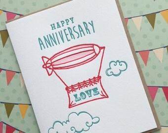 Happy Anniversary Blimp - letterpress card