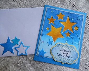 Handmade Birthday Card: complete card, handmade, balsampondsdesign, birthday, greeting cards, birthday card, stars, blue, shimmer