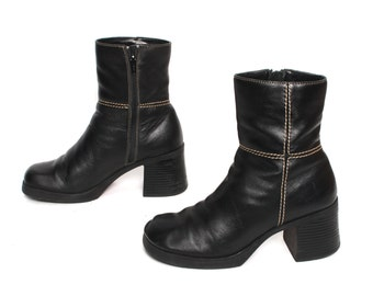 size 7 PLATFORM black leather 80s 90s CHELSEA GRUNGE zip up ankle boots