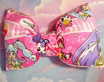Pretty Cure puffy hair bow, anime sweet lolita magical girl Precure barrette hair clip