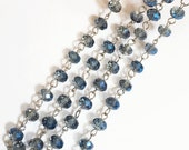 3ft of antique silver chain with  glass rondelle beads,  brass chain with Blue glass beads, brass beaded chain