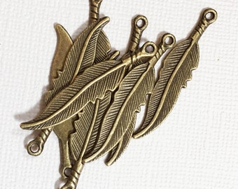 10 pcs of antique brass finished medium feather drop 8x36mm, alloy feather charm, antique brass feather charm