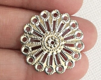 20 pcs of antique silver steel filigree focal findings 25mm