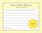 24 Personalized Baby Shower Advice Cards - You Are My Sunshine Baby Shower - Sunshine Baby Shower - Sunshine Advice - Wishes for Mom Cards