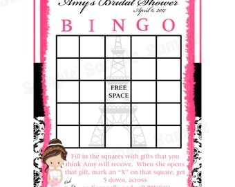 24 Personalized Bridal Shower Bingo Cards    Paris Design - Paris Bridal Shower Bingo - Paris Wedding - Parisian Shower