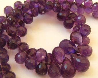 1/2 Strand of Superb Purple African Amethyst Teardrop Faceted Briolettes 8mm - 12mm Semi Precious Gemstone Beads