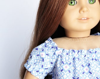 Fits like American Girl Doll Clothes - Peasantly Perfect Dress in Geometric Blue
