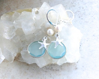 Aqua Chalcedony, Freshwater Pearl and Sterling Silver Starfish Earrings