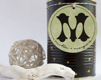 Soy Wax Candle in a Reused Hand Painted Can in Black with Gold Polka Dots