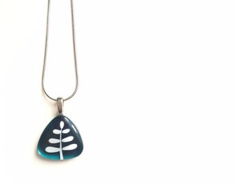 Teal fern pendant stainless steel chain - Handpainted glass by azurine -