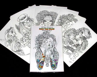 """Set 1 * Five 8.5""""-5.5"""" Pages - Your Own Greeting Cards Myka Jelina Rockin Fantasy Fairy Art"""