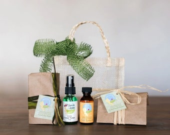 Holiday Gift organic Facial Kit (cleanser, toner, moisturizer, mask) naturally handcrafted by Queen of the Meadow