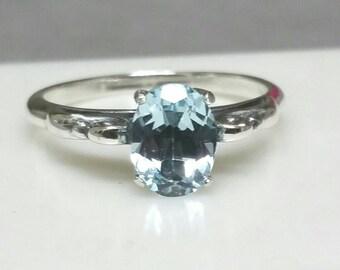 Blue Topaz Ring, Antique Style Engagement Ring, Blue Ring, Size 8 Ring, Sterling Silver, Blue Topaz, December Birthday Maggie McMane Design