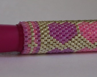 Pink Hearts Beaded Pen Cover with G2 Pink Pen SALE