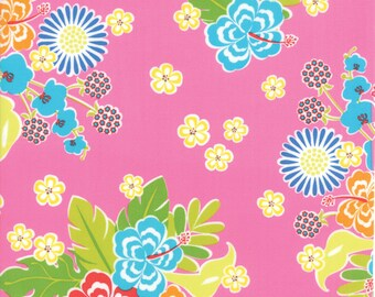 CLEARANCE! Sanibel -Gina Martin- Moda- Hibiscus- Pink- Fabric by the Yard- Hawaii Fabric- Cotton Fabric- Sew- Craft- Apparel Fabric