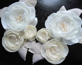 set of TWO - fabric flower appliques for dress or sash with pearls - Made To Order - WEDDING BELLES