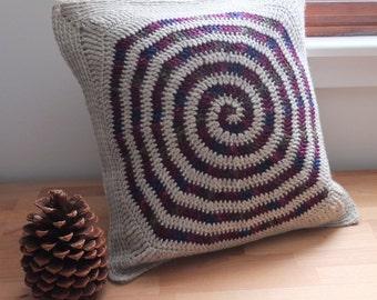 "BERRY MOCHA SWIRL  | 16"" Pillow Cover | Handmade Crochet | Raspberry Spiral w/ Taupe Heather Oatmeal Mocha Wool Top | Natural Linen"