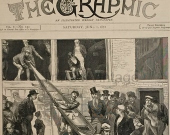 Antique Victorian Newspaper Cover. The Graphic, dated June 1, 1872. International Boat Race