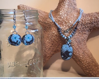 Powder Blue Chrysanthemum Beaded Necklace with Matching Dangle Polymer Clay Hook Earrings