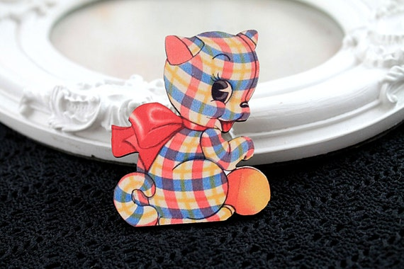 Kitten toy wooden brooch cute woodland cat dog red yelow blue plaid bow