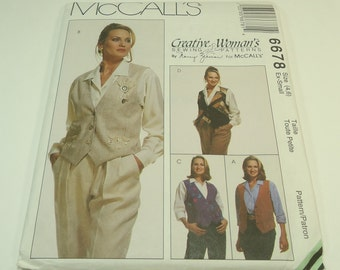 McCall's Creative Woman's  Misses' Reversible Vest, Pin, And Cinch Pattern 6678 By Nancy Zieman Size 4 6 Extra Small