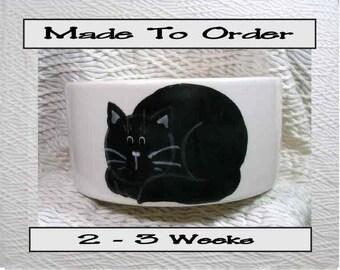 Medium Pet Bowl Black Cat and Paw Prints Inside 20 Oz. Ceramic by Gracie