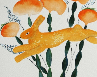 abstract bunny watercolor painting, original watercolor painting with mat, orange and green decor