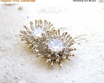 Clearance SALE Bridal Earrings Dandelion CZ Sterling Dangle SE6