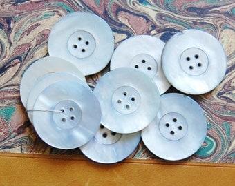 1930s Mother of Pearl Buttons Vintage Lot of 9 Large Destash Set Supplies
