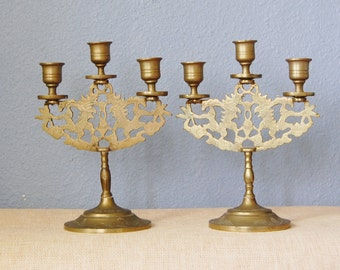 Vintage 1950s Brass Candle Holders Asian Chinese Dragon Home Decor Candelabras