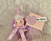 Be Mine Love Bug pink and purple Valentine ornament vintage retro inspired token of love ooak art doll toni Kelly anthropomorphic