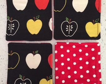 Drink Coasters - Set of 4 - Apples on Black