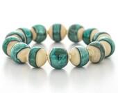 blue green bracelet, glass, silver, stretch style, artisan lampwork jewelry