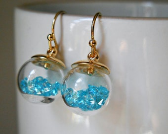 Mini terrarium earrings turquoise aqua blue earrings gold plated earrings Glass orb Hanging terrarium Glass globe  Glass vial orb ball cute