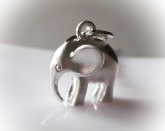 Silver elephant necklace. Little baby elephant calf charm necklace. Silver plated jewelry 3D elephant African animal silver pendant necklace