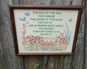Vintage Professionally Framed Near to God in the Garden Sampler