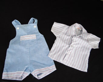 Pair of Vintage Baby Size 9 Months Blue Romper with Short Sleeve Pinstripe Shirt