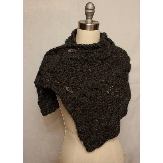 Bulky Cabled Cowl in Alpaca Blend with Buttons