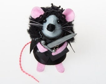 Jon Snow Mouse - Game of Thrones inspired collectable art rat artists mice felt mouse cute soft sculpture toy plush GoT Kit Harington fan